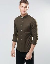 Оксфордская зауженная рубашка с длинными рукавами ASOS - Mid khaki