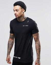 Удлиненная облегающая футболка с принтом на плече ASOS - Черный