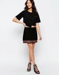 Замшевая юбка с вышивкой Muubaa Forster - Черный