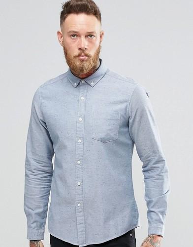 Голубая саржевая футболка с длинными рукавами ASOS - Синий