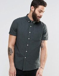 Саржевая рубашка цвета хаки в крапинку с длинными рукавами ASOS - Хаки