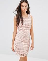 Белое цельнокройное платье в клетку Lavand - Розовый