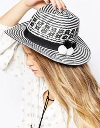 Тканая шляпа с помпонами 7X