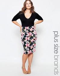 Платье миди с цветочным принтом на юбке Club L Plus - Черный