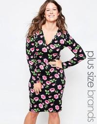 Платье миди с цветочным принтом и глубоким вырезом Club L Plus