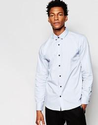 Строгая рубашка слим с контрастными пуговицами Selected Luca - Синий