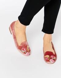 Туфли с вышивкой на плоской подошве ASOS MYLO - Розовый