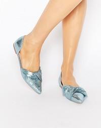 Балетки с острым носом ASOS LADY - Синий металлик