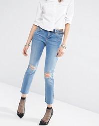Синие рваные джинсы прямого кроя ASOS - Синий выбеленный