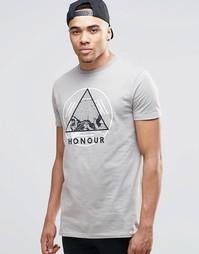 Длинная футболка с принтом черепа на груди ASOS - Приглушенный серый