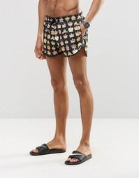 Короткие шорты для плавания с коронами Abuze London - Черный