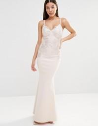 Платье макси с кружевной отделкой на лифе Lipsy - Телесный