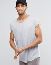 Oversize-футболка без рукавов с необработанным краем ASOS - Серый лен