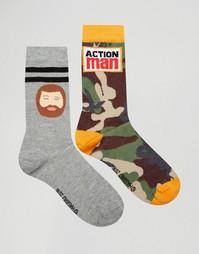 Набор из 2 пар носков с камуфляжным принтом ASOS - Мульти