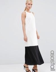 Платье макси из крепа с полупрозрачной плиссированной кромкой ASOS TAL