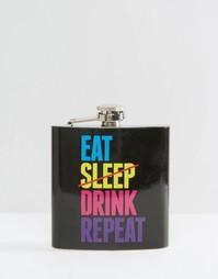 Плоская фляжка с надписью Eat Sleep Drink Repeat - Мульти Gifts