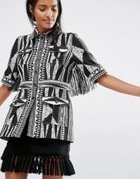 Жаккардовый пиджак зауженного кроя Anna Sui - Черный принт