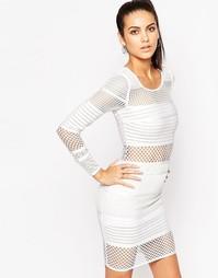 Бандажное платье мини с сетчатыми вставками WOW Couture - Белый