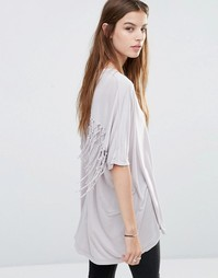 Oversize-футболка с кисточками Religion - Серый