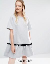 Платье-свитшот с оборками по краю Reclaimed Vintage - Серый меланж