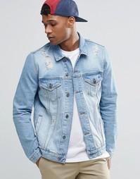Рваная джинсовая куртка ASOS - Синий