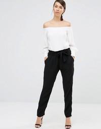 Черные брюки с поясом на талии Lavand - Черный