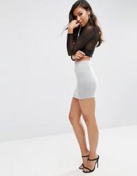 Трикотажная мини-юбка ASOS - Серый меланж