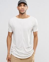 Длинная футболка из льняной смеси с необработанным краем ASOS