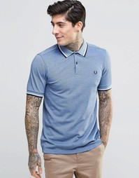 Синяя футболка‑поло с двумя контрастными полосками Fred Perry