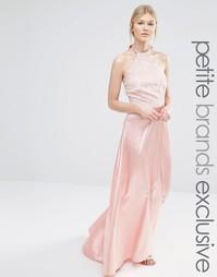 Платье макси с кружевным лифом и атласной юбкой John Zack Petite