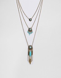Ожерелье в несколько рядов с подвеской-пером Ashiana - Золотой