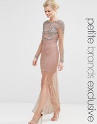 Сетчатое платье макси с отделкой на лифе Maya Petite - Телесный