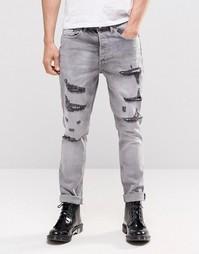 Серые джинсы с прорехами Religion Gore - Серый