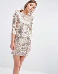 Платье мини с пайетками и рукавами 3/4 TFNC Pattenred