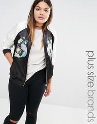 Куртка-пилот с вышивкой Boohoo Plus - Черный