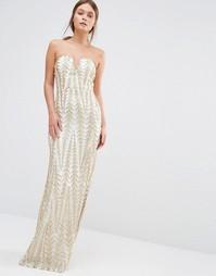 Платье-бандо макси с отделкой пайетками TFNC - Золотой