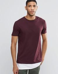 Темно-красная супердлинная футболка с контрастной кромкой ASOS