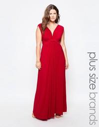 Платье макси с узелком спереди Goddiva Plus - Коралловый