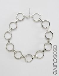 Ожерелье-чокер с кольцами ASOS CURVE - Родий