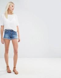 Джинсовые шорты с вышивкой на карманах Vero Moda - Синий выбеленный