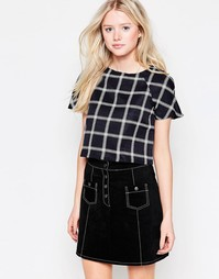 Daisy Street Crop Top In Grid Print - Черный