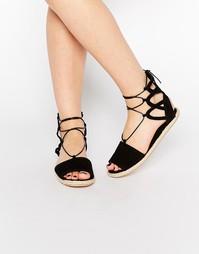 Замшевые эспадрильи со шнуровкой Boohoo Boutique - Черный