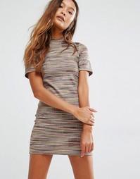 Платье-футболка в разноцветную полоску Honey Punch - Мульти