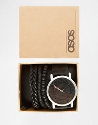 Набор с часами и браслетом черного цвета ASOS - Черный