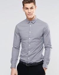 Темно-синяя облегающая рубашка в клетку с длинными рукавами ASOS