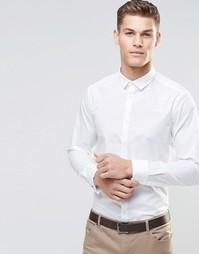 Белая рубашка в строгом стиле с двойными манжетами и длинными рукавами Asos