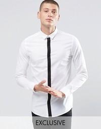 Стретчевая рубашка скинни с контрастной планкой а пуовицах Only & Sons