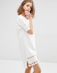 Цельнокройное платье с помпонами на нижней кромке First & I - Белый