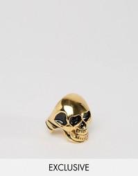 Золотистое кольцо с черепом Reclaimed Vintage - Золотой