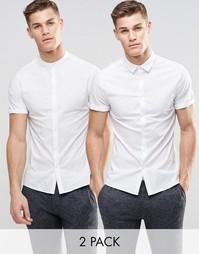 Набор из 2 белых облегающих рубашек ASOS, СКИДКА 15% - Белый